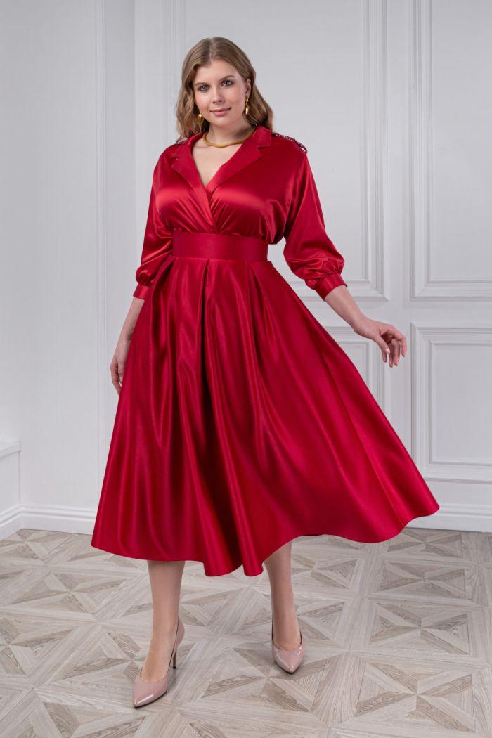 Изящный комплект из атласной блузки с длинным рукавом и юбки ИЛАЙН & ПИЛАР Миди