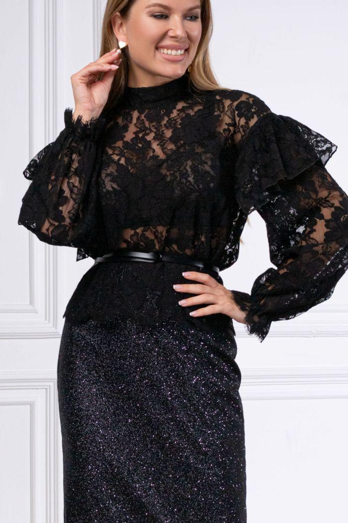 Великолепная кружевная блуза с длинным рукавом и юбка карандаш КАМА & АДАЛИН Миди