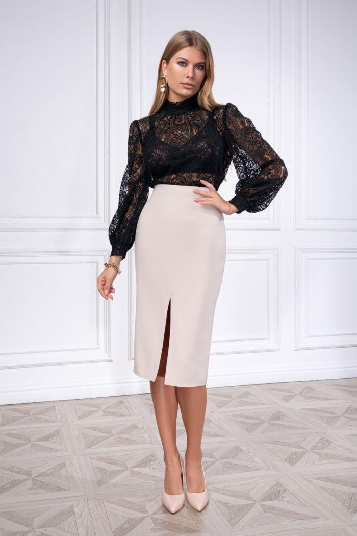 Кружевная блузка с длинным рукавом и строгая юбка миди из крепа ХИОНА