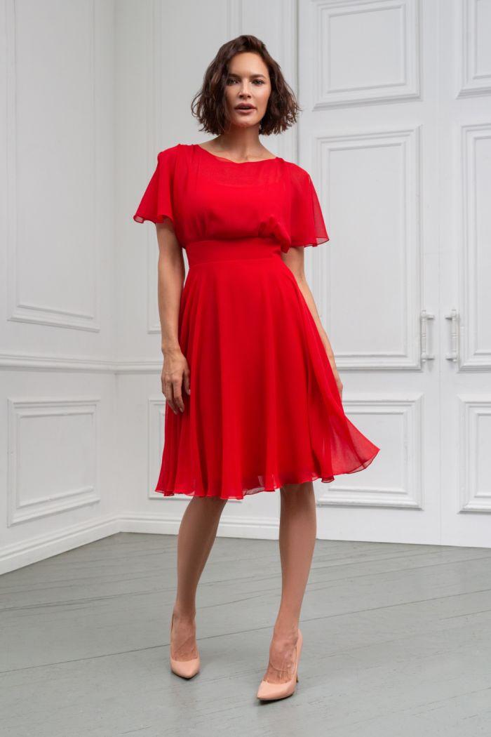 Коктейльное платье из невесомой ткани с юбкой чуть ниже колена ЛЕТТА Классик