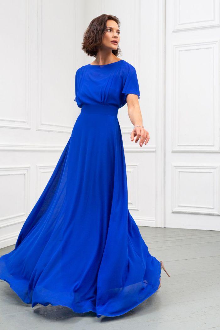 Легкое вечернее платье длины макси из жоржета с высокой талией ЛЕТТА Макси