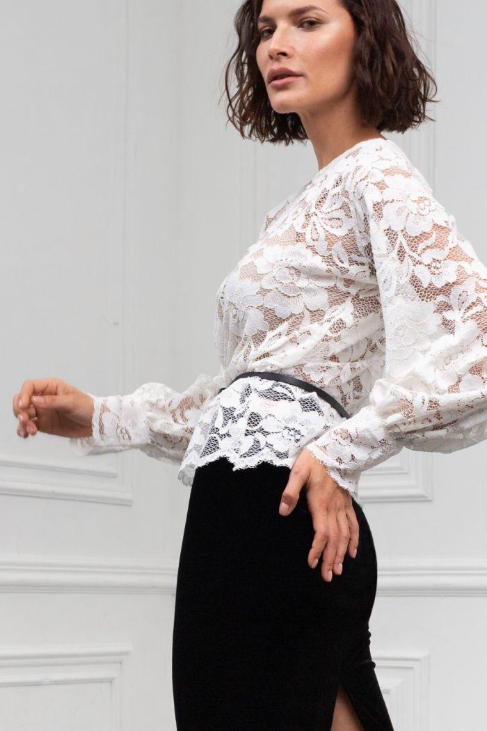 Кружевная блуза с длинным рукавом и бархатная юбка длины миди МАРТИНА