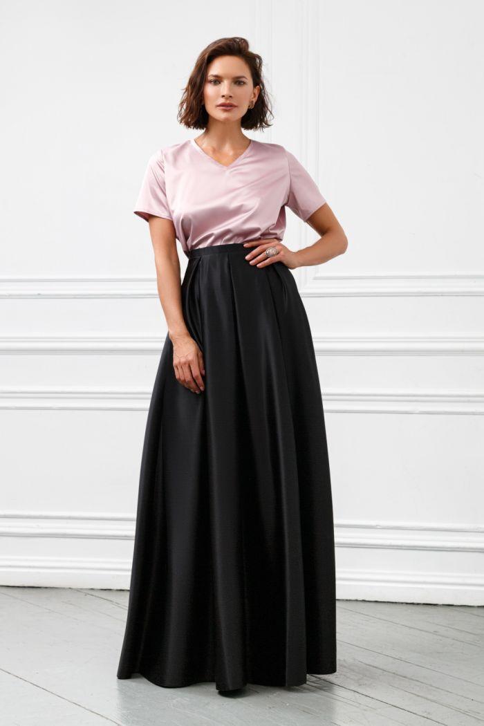 Базовый комплект из нежной блузки и атласной юбки длины макси МЕЛЛ Макси