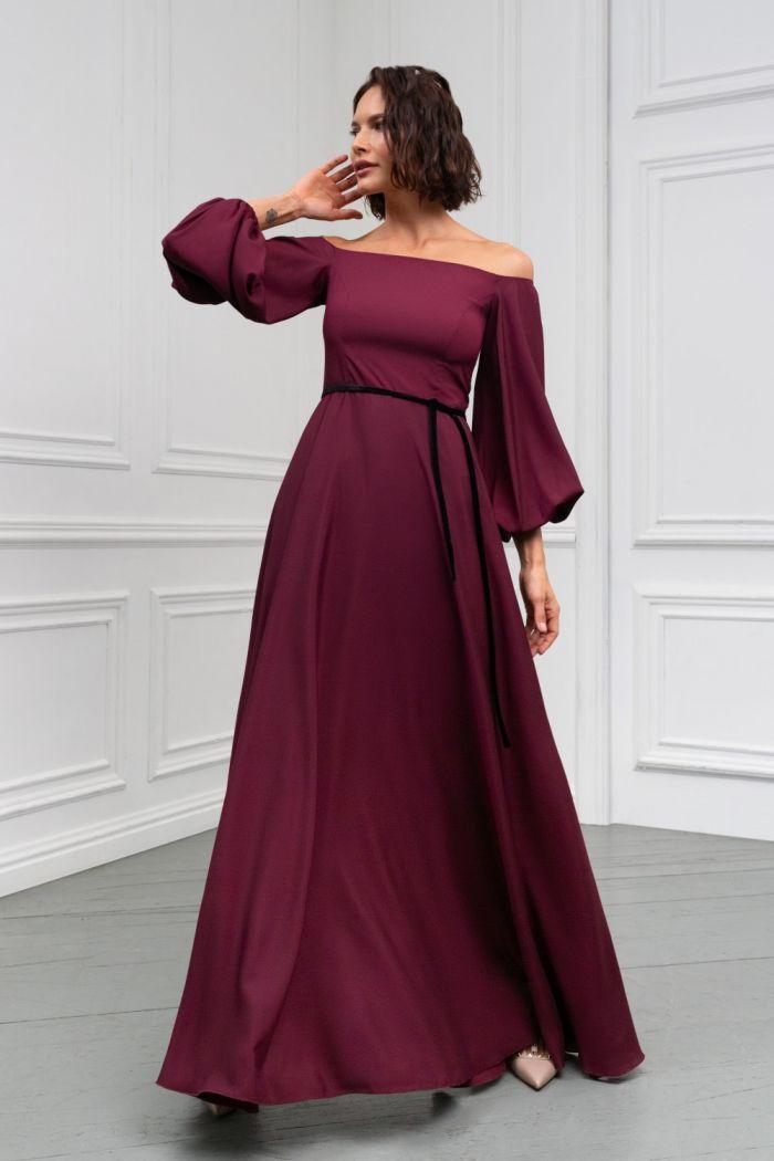 Роскошное длинное вечернее платье длины макси с пышным рукавом МИННА Макси