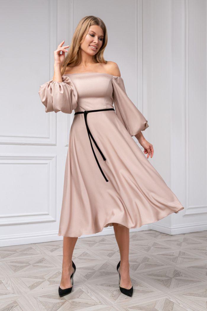 Легкое коктейльное платье с пышным рукавом и узким пояском МИННА Миди