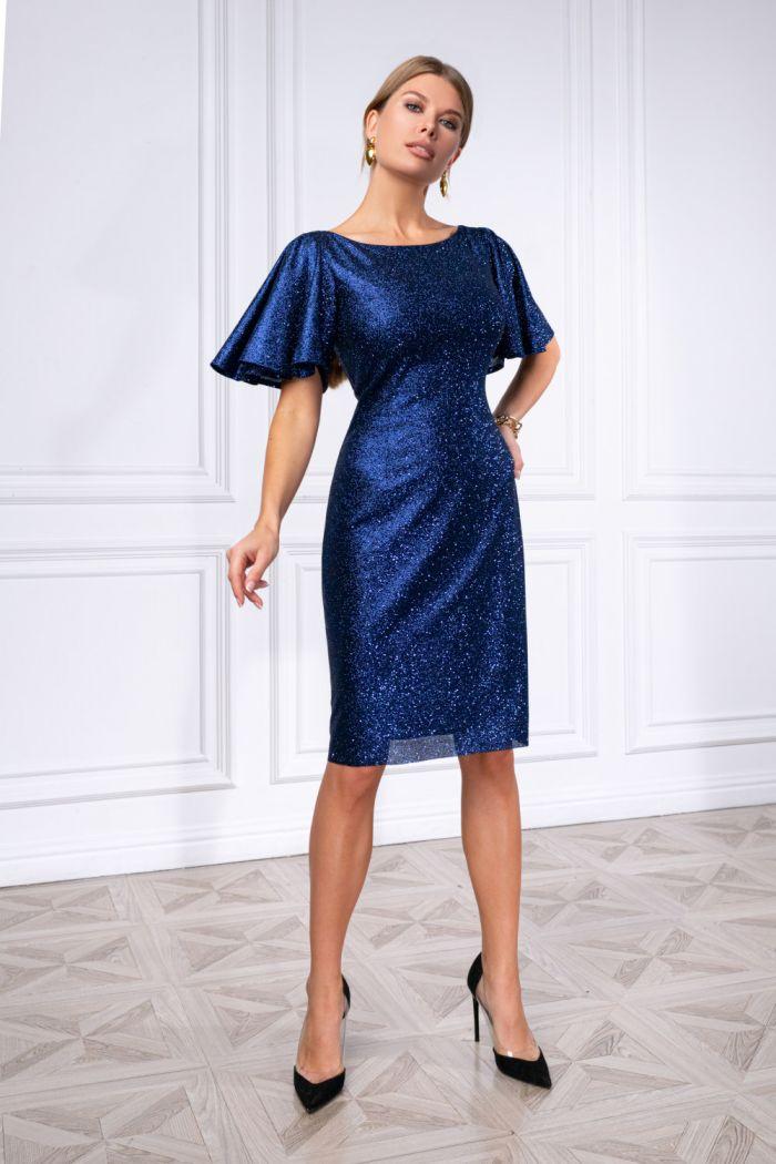 Коктейльное платье приталенного силуэта с рукавами-крыльями ПЕРЛ Классик