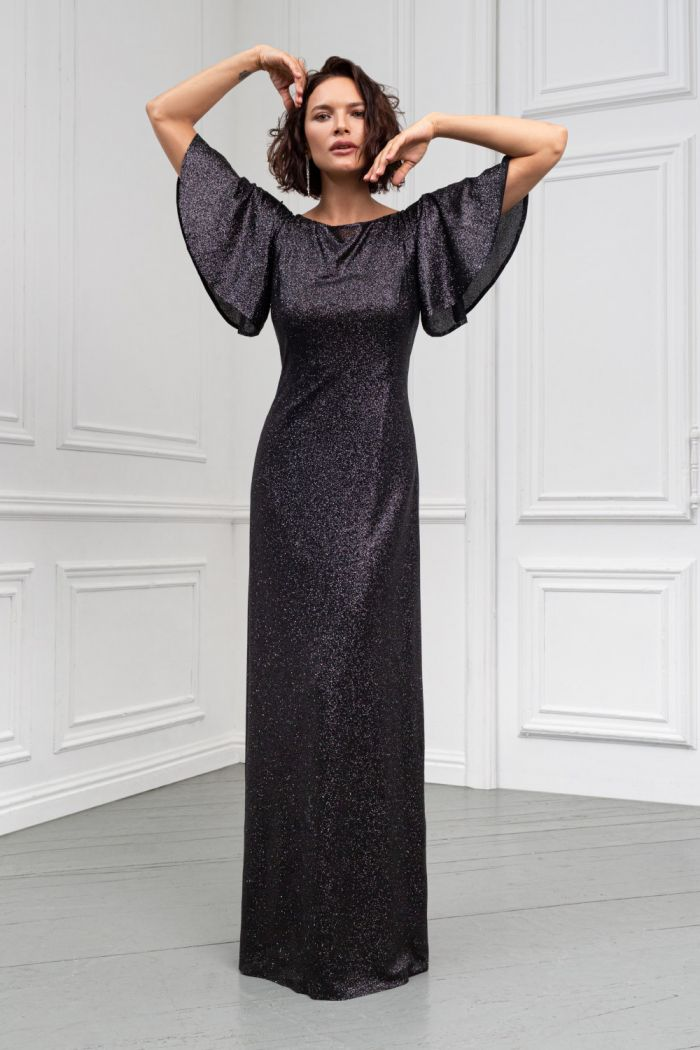 Длинное вечернее платье прямого силуэта с рукавами-крыльями ПЕРЛ Макси
