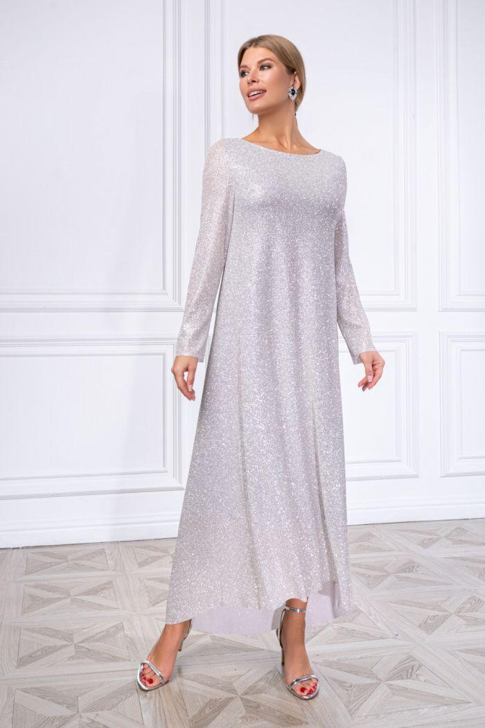 Сверкающее длинное платье из глиттерной ткани ШАЙНИ