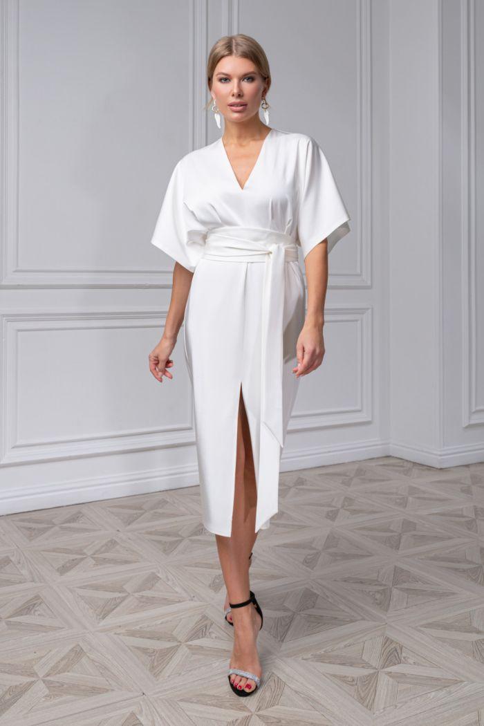 Элегантное платье из пластичного крепа с юбкой длины миди САМНЕР