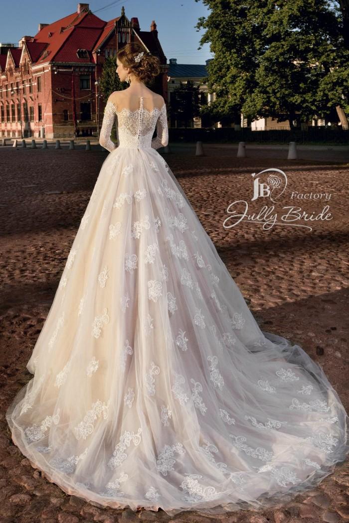 Свадебное платье кофейного оттенка с рукавами и шлейфом JULLY BRIDE