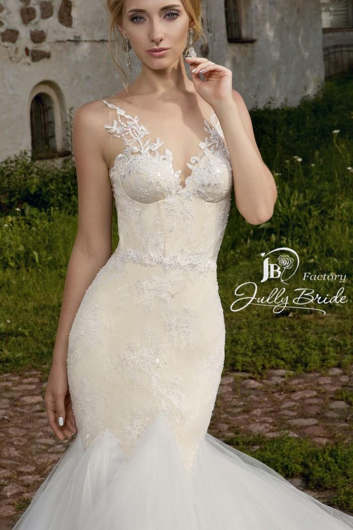 Кружевное свадебное платье силуэта рыбка со шлейфом JULLY BRIDE