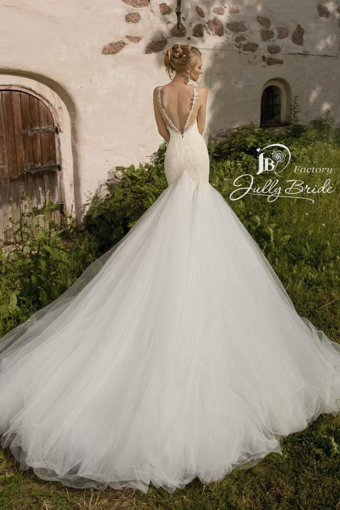 Кружевное свадебное платье силуэта рыбка со шлейфом РОКСАНА