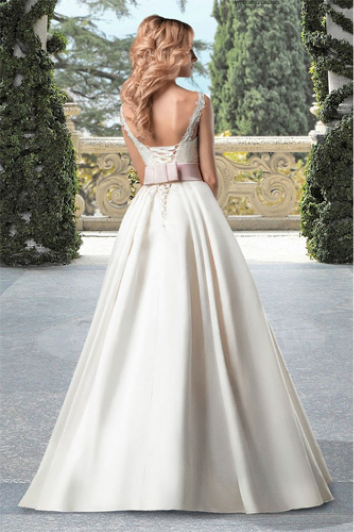 Свадебное платье А-силуэта с открытой спиной ПАТРИЦИЯ