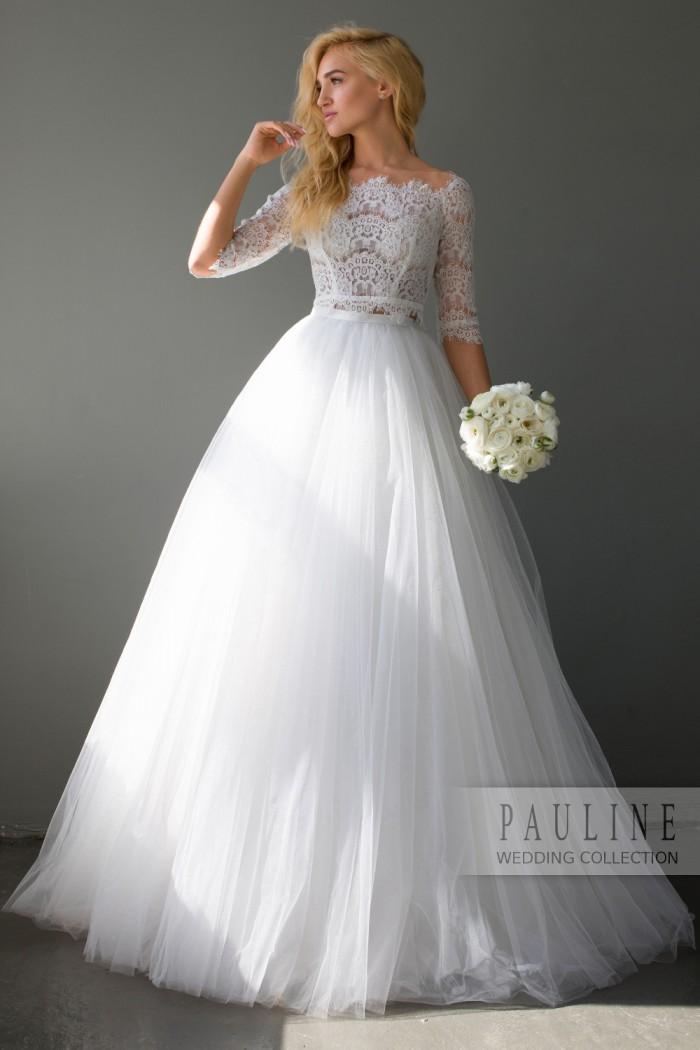 Чувственное свадебное платье с кружевным топом КИРА