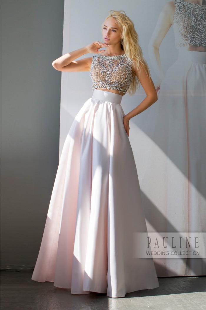 Свадебное платье с прозрачным верхом и трапециевидной юбкой ЛИЛИ
