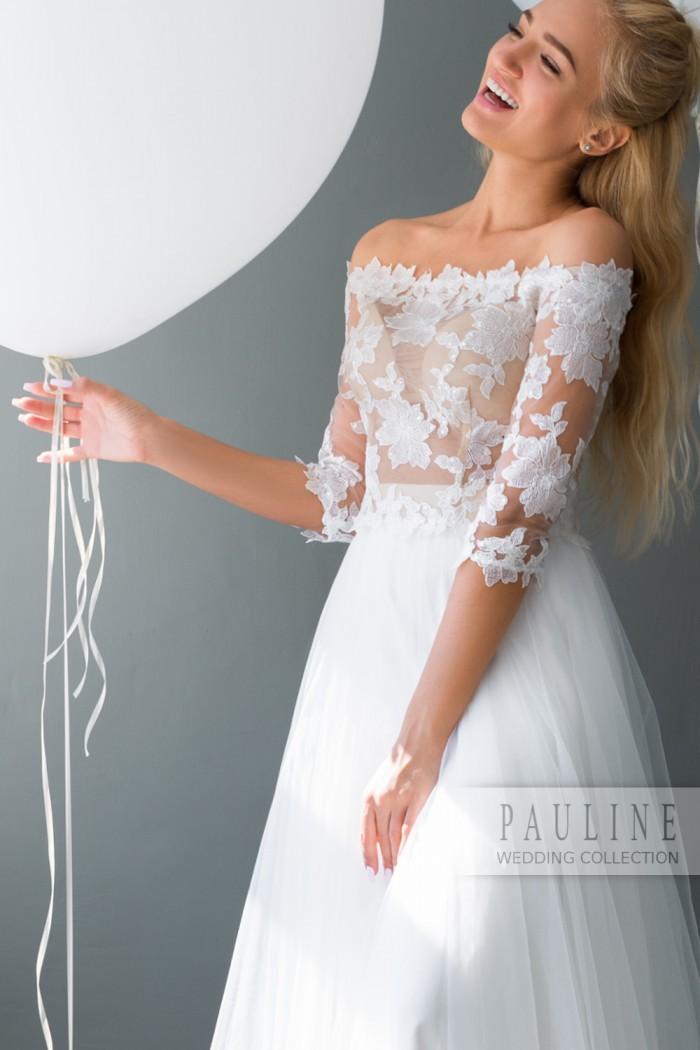 Свадебное платье с невесомым ажурным лифом ЛОРЕИН