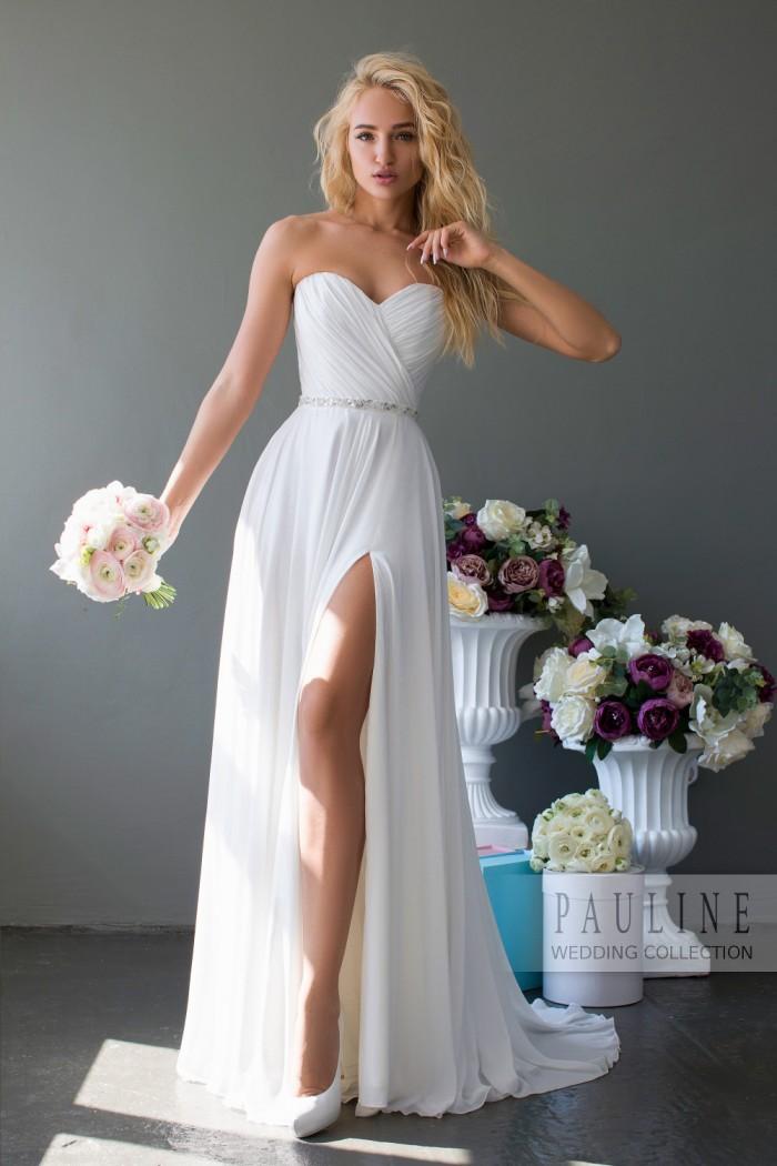 Легкое и свободное свадебное платье с открытыми плечами МИРРА