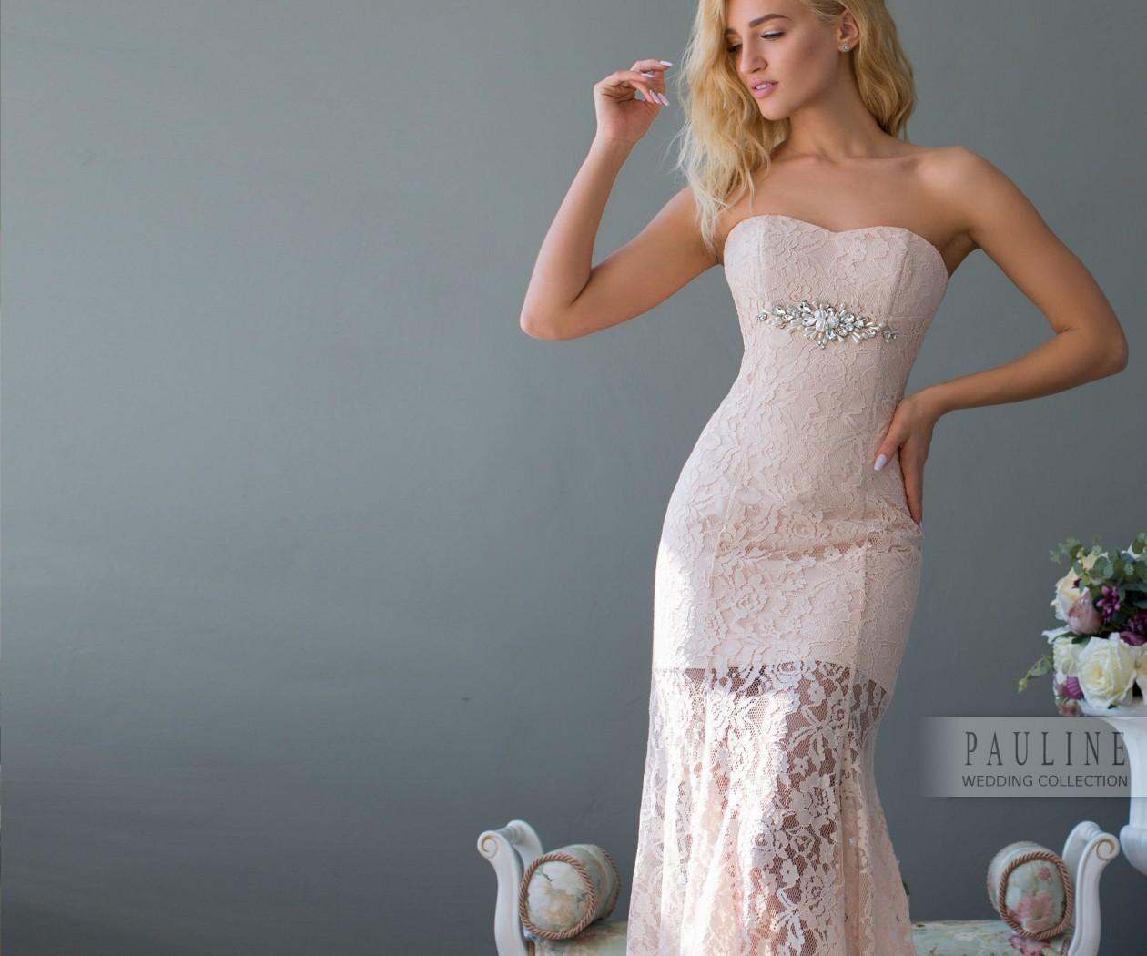 Роскошное Свадебное платье из кружева со шлейфом МОНТРЭ