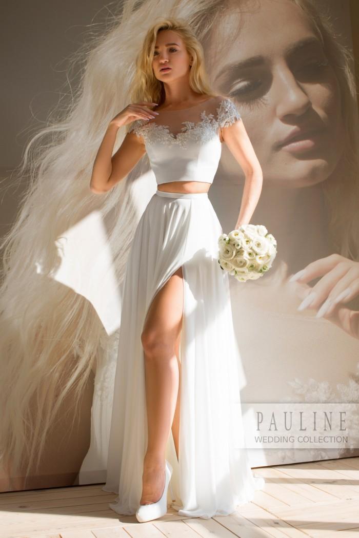 Свадебное платье с коротким атласным топом и длинной струящейся юбкой ОНИКС Люкс