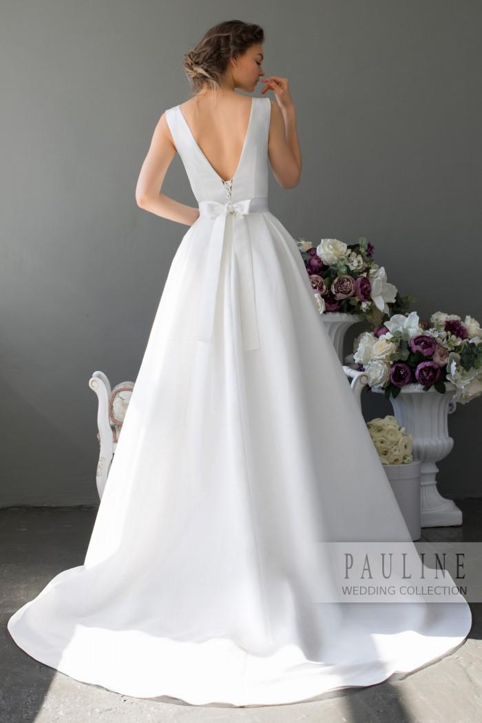 Атласное свадебное платье классического силуэта СКАРЛЕТТ