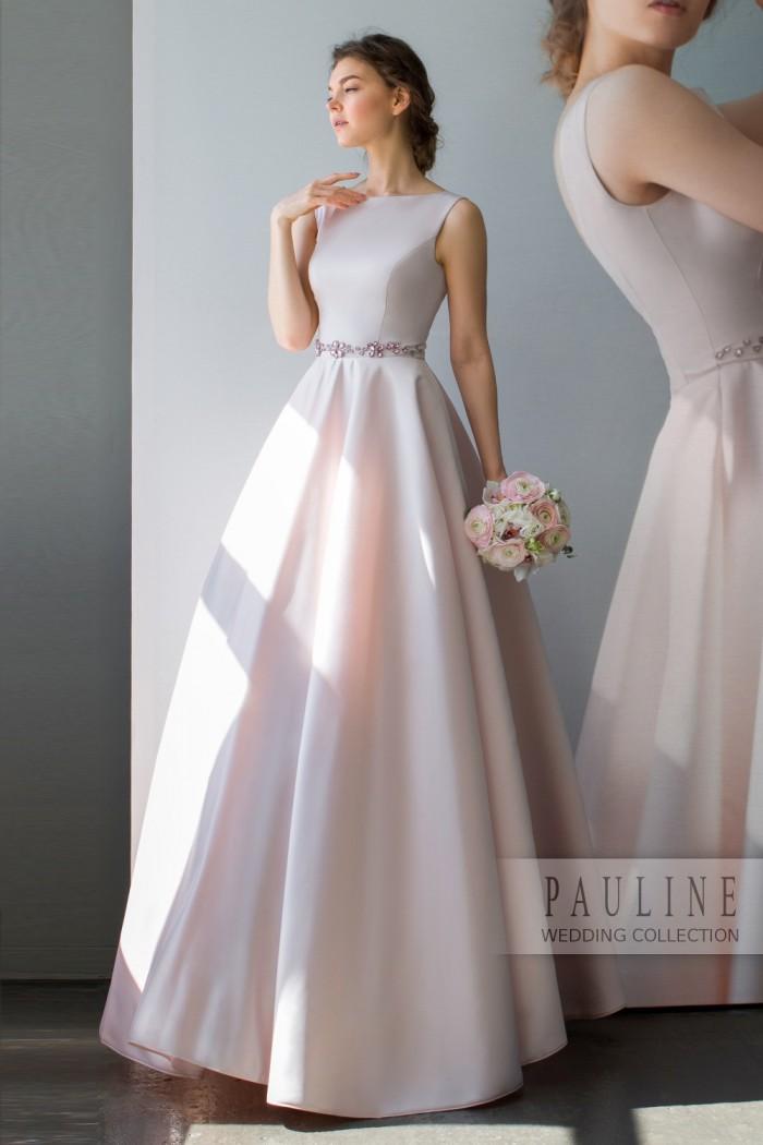 Элегантное свадебное платье с инкрустацией розовыми кристаллами СКАРЛЕТТ Уинд