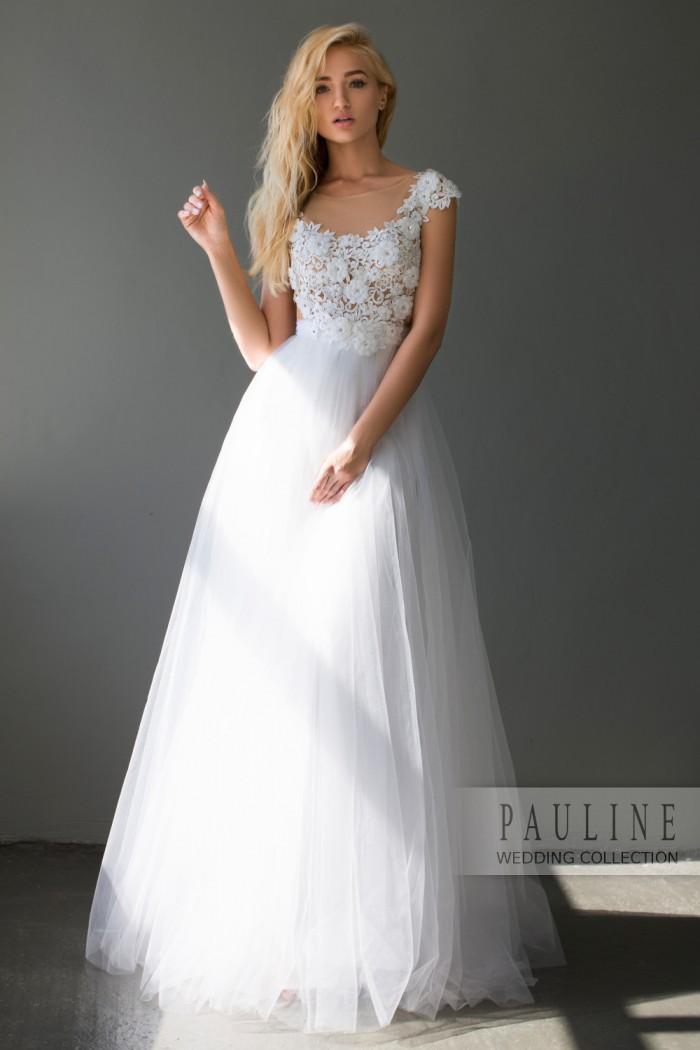 Пышное свадебное платье с кружевным полупрозрачным верхом ШАДЭ