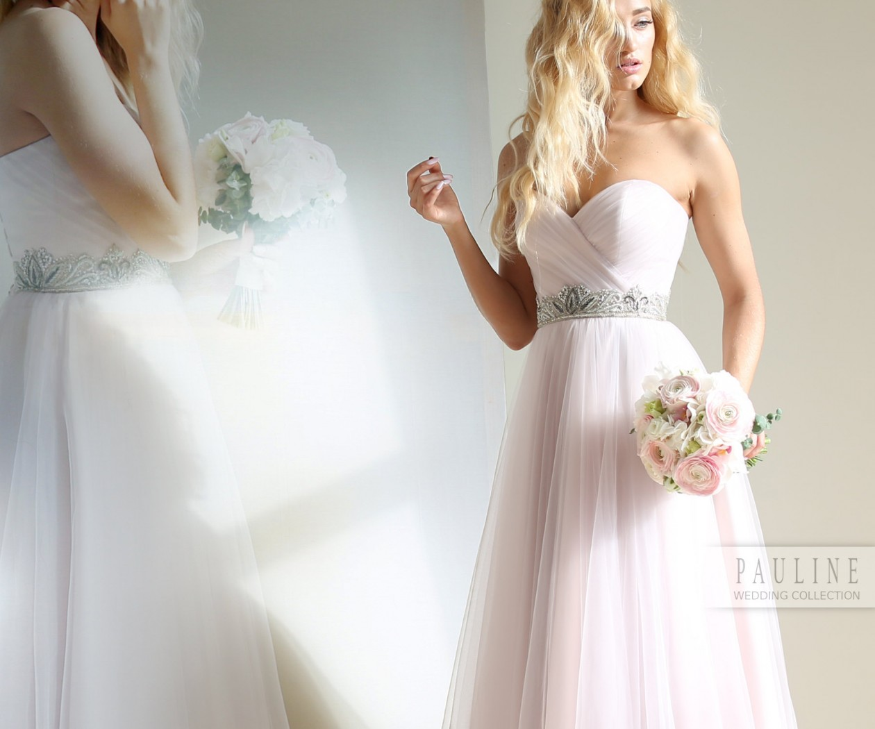 Легкое и воздушное силуэтное свадебное платье СМОУК Люкс