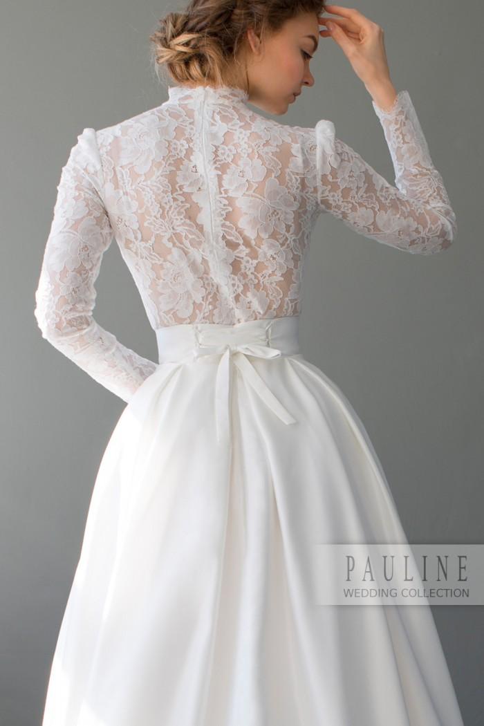 Кружевное свадебное платье с длинным руквом ТЕЙЛОР