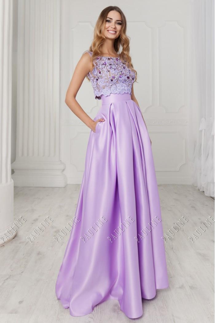 Длинное вечернее платье с атласной юбкой и кружевным топом АФАЛИНА