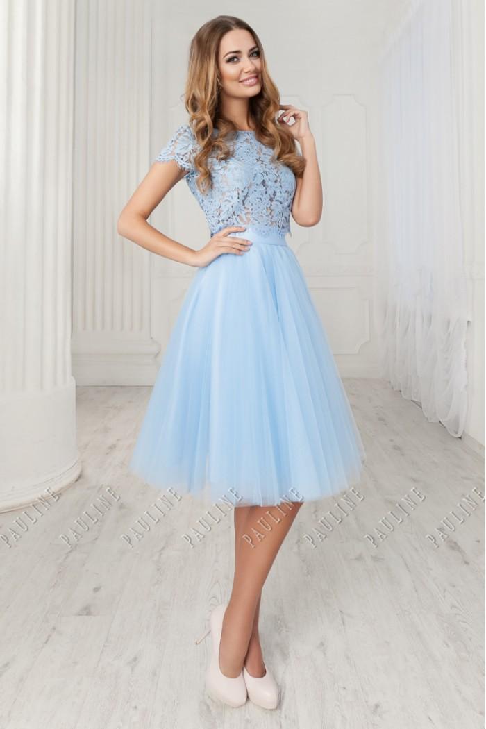 Нежно голубое, изящное платье с короткой юбкой на выпускной АУРА / ЛИЛИ