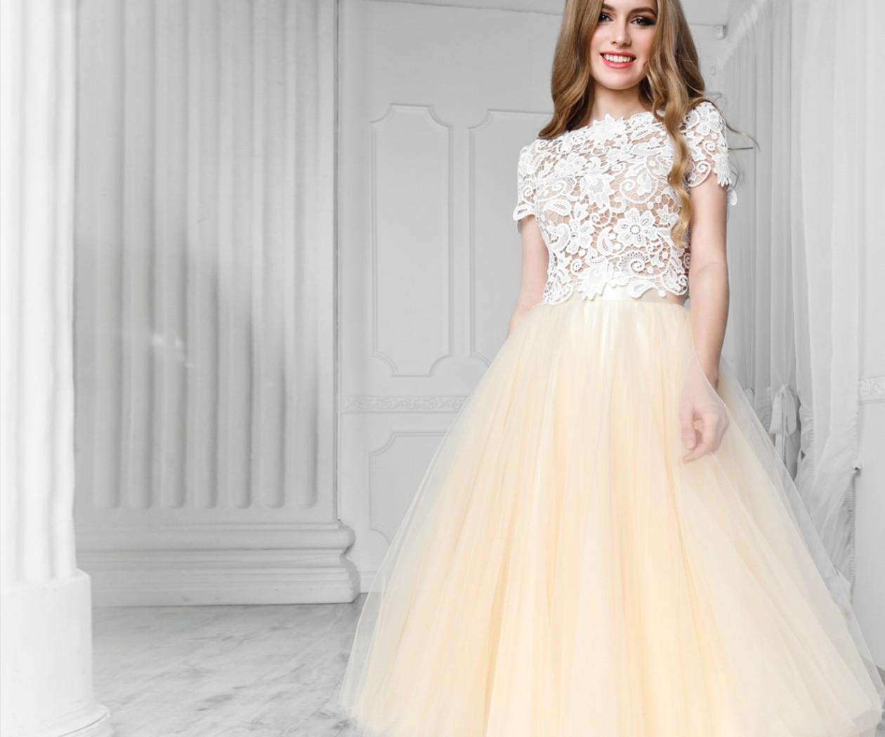 Платье на выпускной с кружевным топом и пышной юбкой длины миди АУРА Макраме / ЛИЛИ
