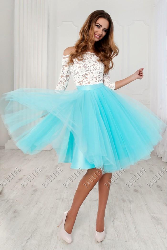 Романтичное платье с кружевной блузой и пышной короткой юбкой БАРНЕО
