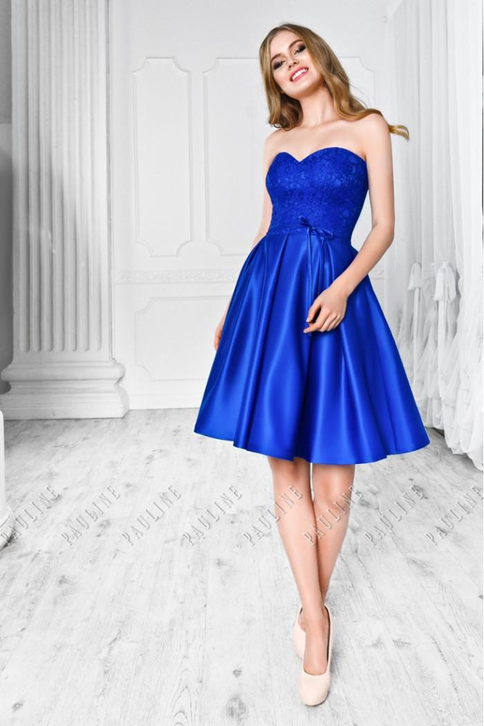 Атласное платье с короткой юбкой и лифом, покрытым фактурным кружевным БЕАТА Мини