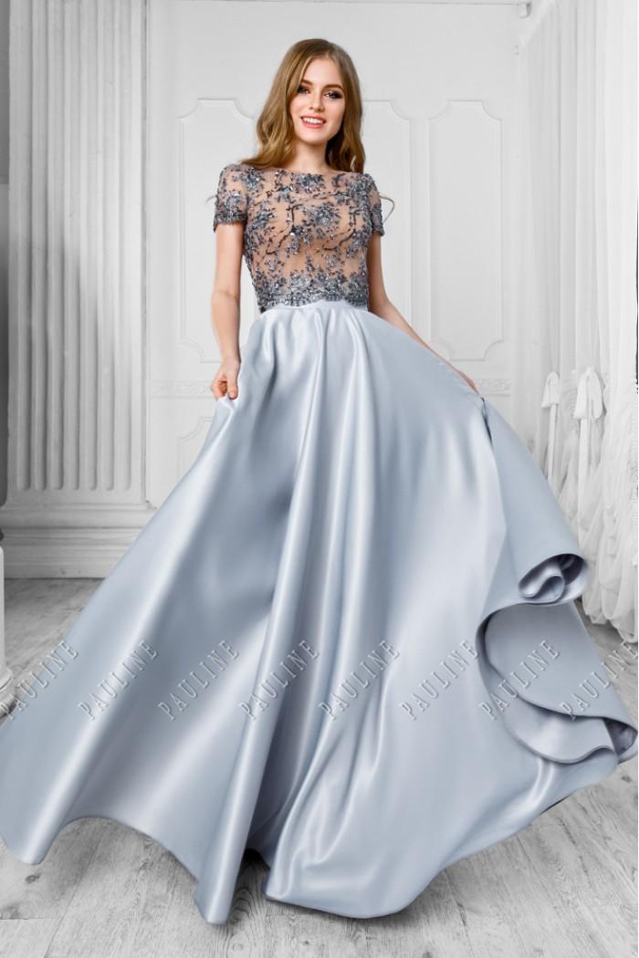 Аристократичное платье с расшитым серебром топом и юбкой в пол КРИС
