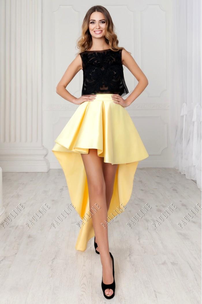 Экстравагантное платье с кружевным топом и юбкой переменной длины КЛИКО