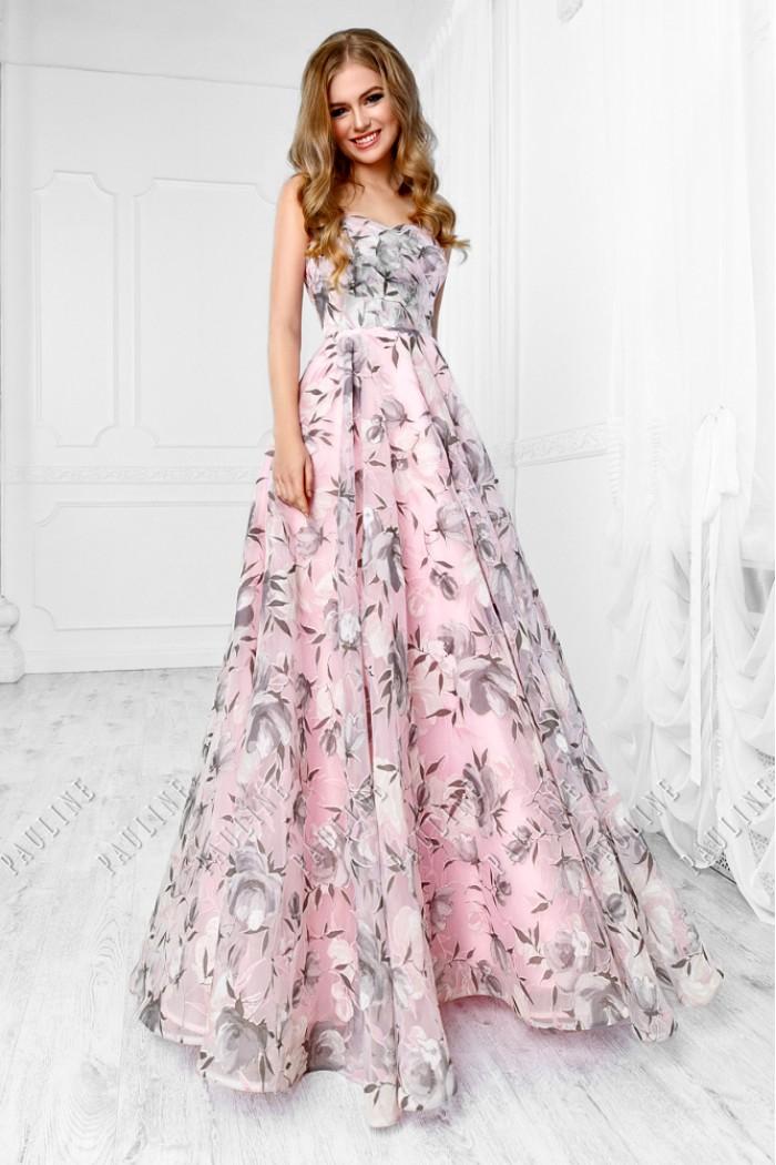 Шелковое корсетное платье с длинной летящей юбкой ДЕВОРЭ