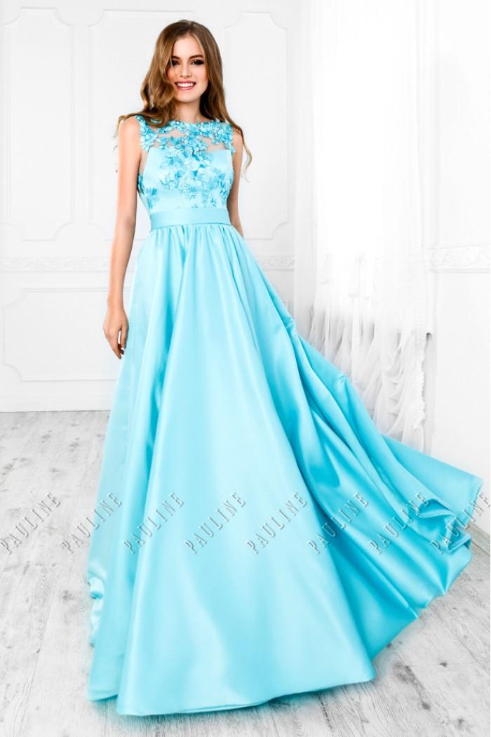 Бирюзовое вечернее платье с открытой спиной и длинной юбкой ЭВАНДЖЕЛИНА