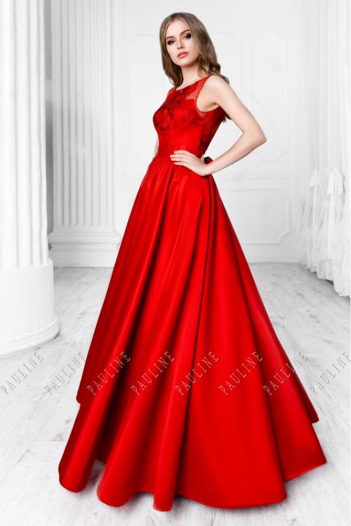 Красное вечернее платье с открытой спиной и длинной юбкой ЭВАНДЖЕЛИНА