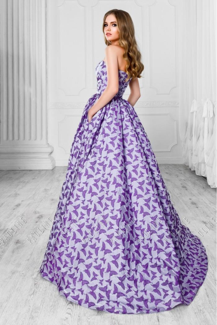 Длинное шелковое платье сиреневого цвета с рисунком ФАРФАЛЛЕ