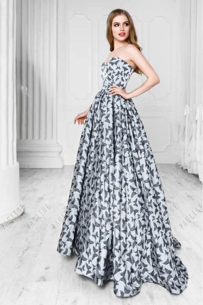 Серебристо серое шелковое платье с длинной юбкой ФАРФАЛЛЕ