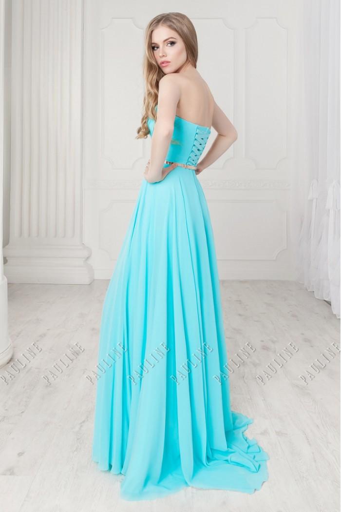 Длинное вечернее платье из жоржета с высоким разрезом МИРРА