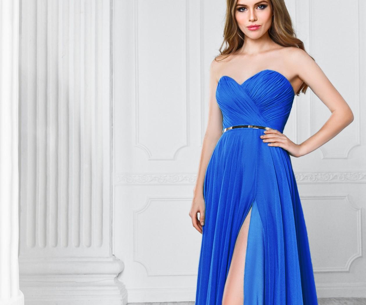 Синее вечернее платье c длинной юбкой и высоким разрезом МИРРА