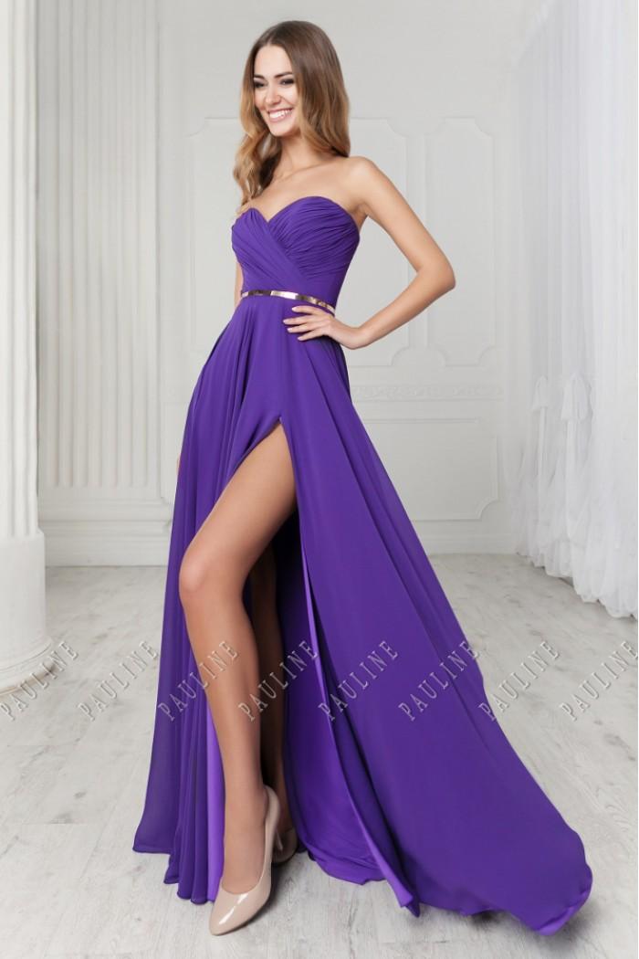 Длинное вечернее платье c корсетом и высоким разрезом МИРРА
