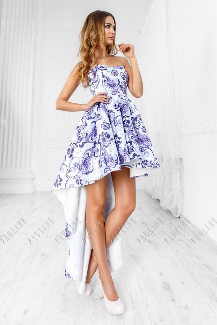 Эффектное вечернее платье c юбкой короткой спереди и длинной сзади МОДЖО