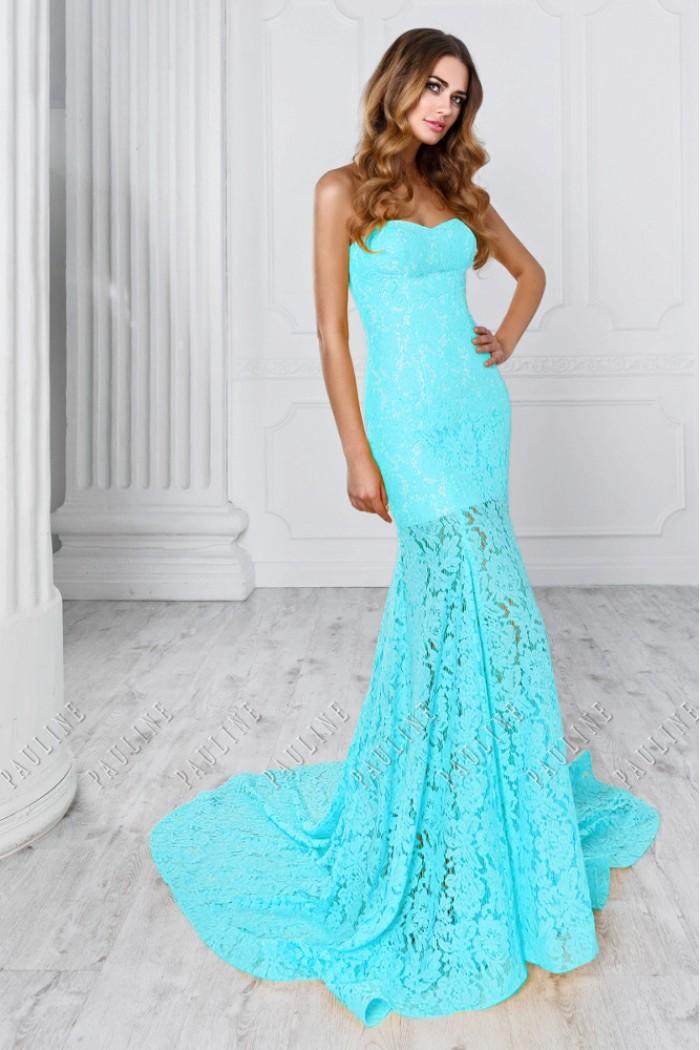 Длинное вечернее платье с кружевом силуэта рыбка МОНТРЭ