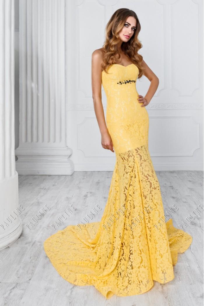 Вечернее платье силуэта русалка c прозрачной длинной юбкой МОНТРЭ Lux