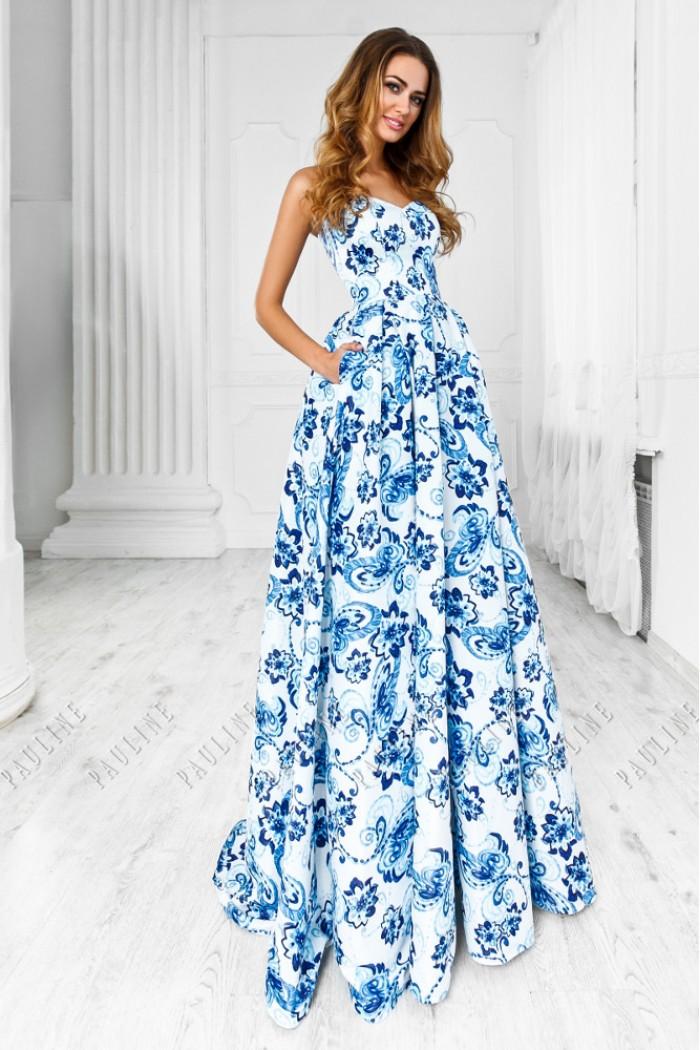 Корсетное платье с открытыми плечами и великолепной юбкой макси ОДЬЕ