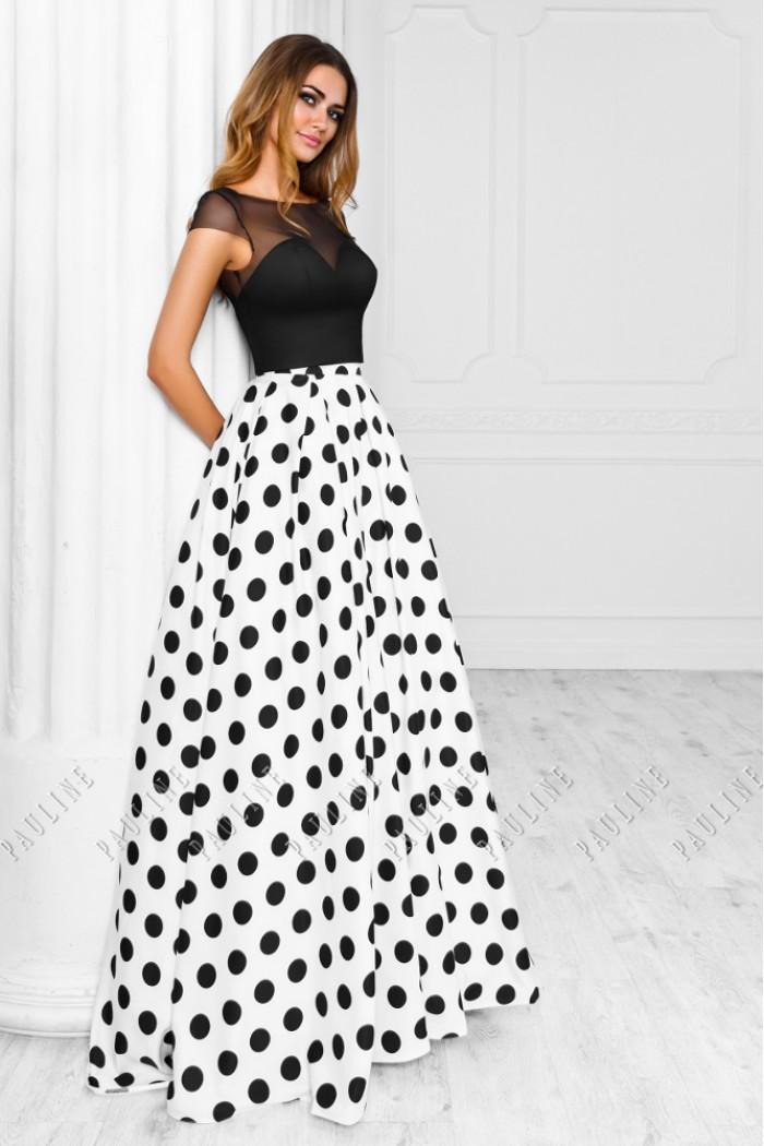 Чувственное вечернее платье с черным корсетом и длинной юбкой в горох ОНИКС