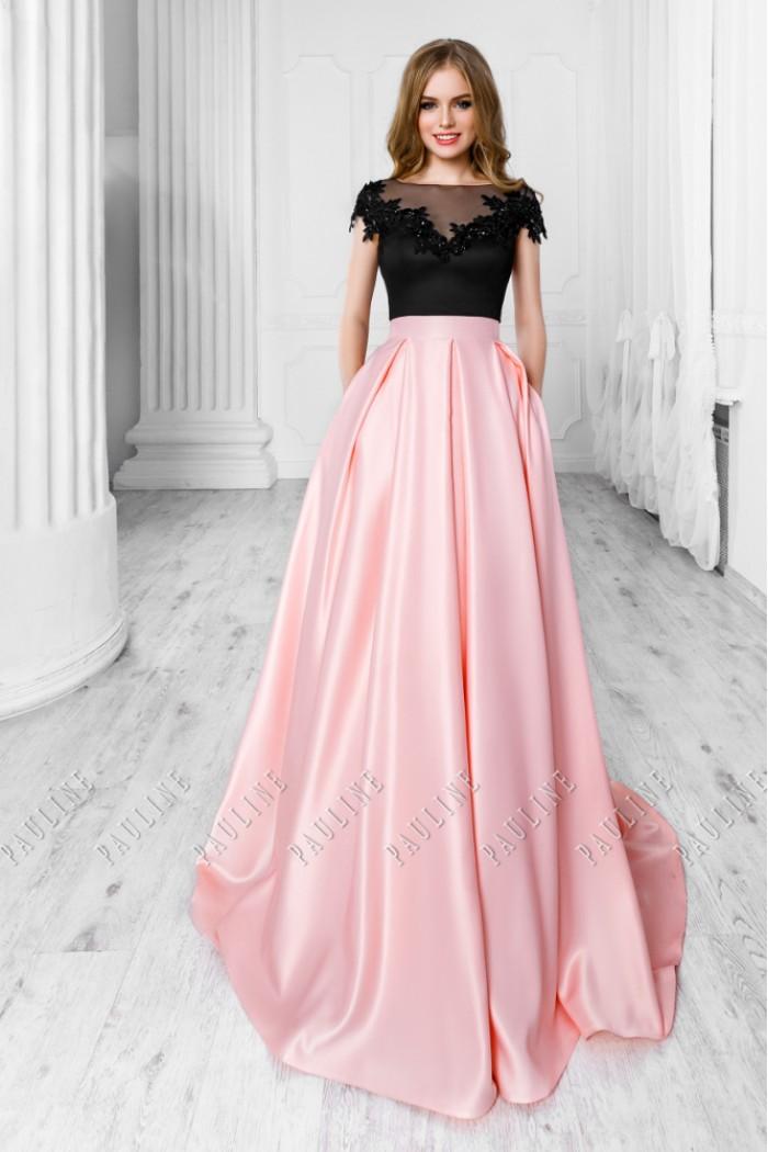 Черно розовое вечернее платье с открытой спиной и длинной юбкой ОНИКС Lux