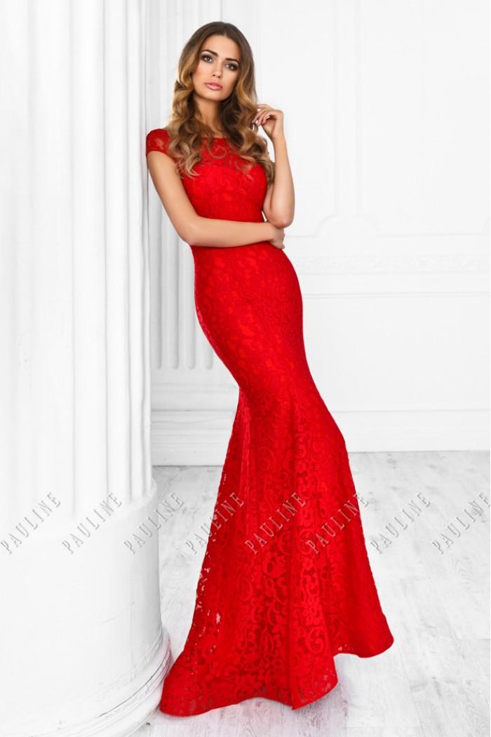 Красное вечернее платье из атласа покрытое кружевом с открытой спиной РЕВЕРИ